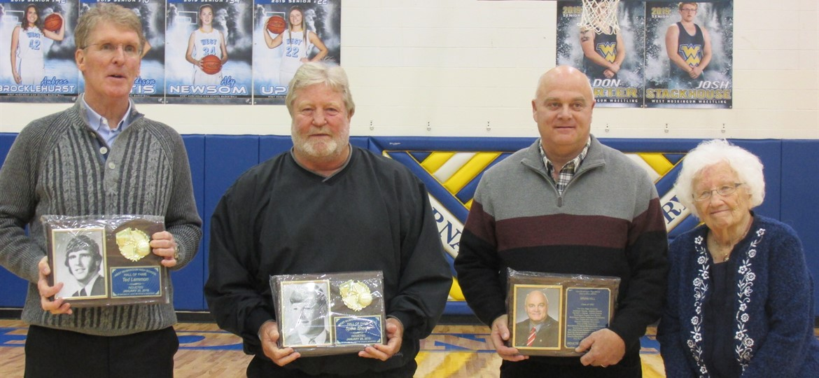 Pictured From left to right: Ted Lemmon and Spike Sheets - Athletic Hall of Fame; Senator Brian Hill - Distinguished Alumni; and Liz Burrier - Hall of Honor. Congratulations!