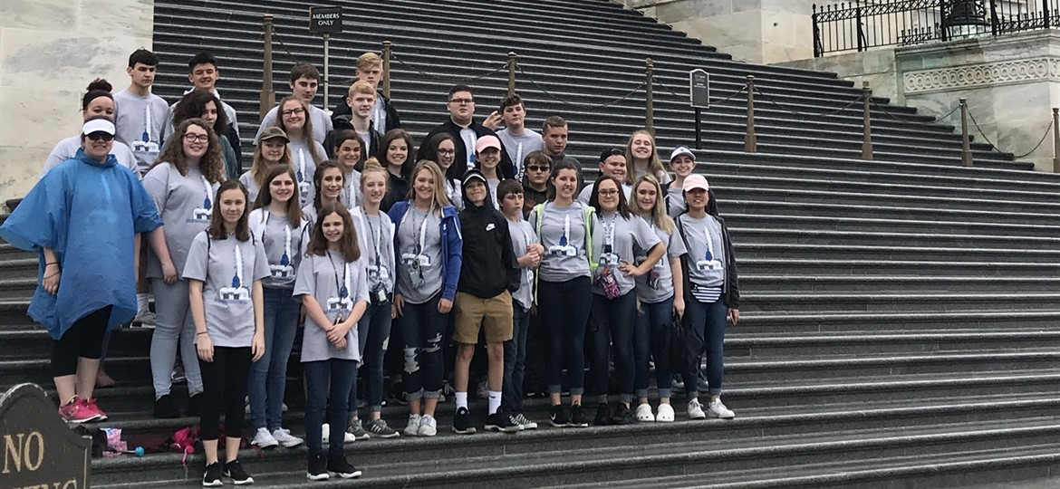 Eighth Graders on Steps of U.S. Capitol