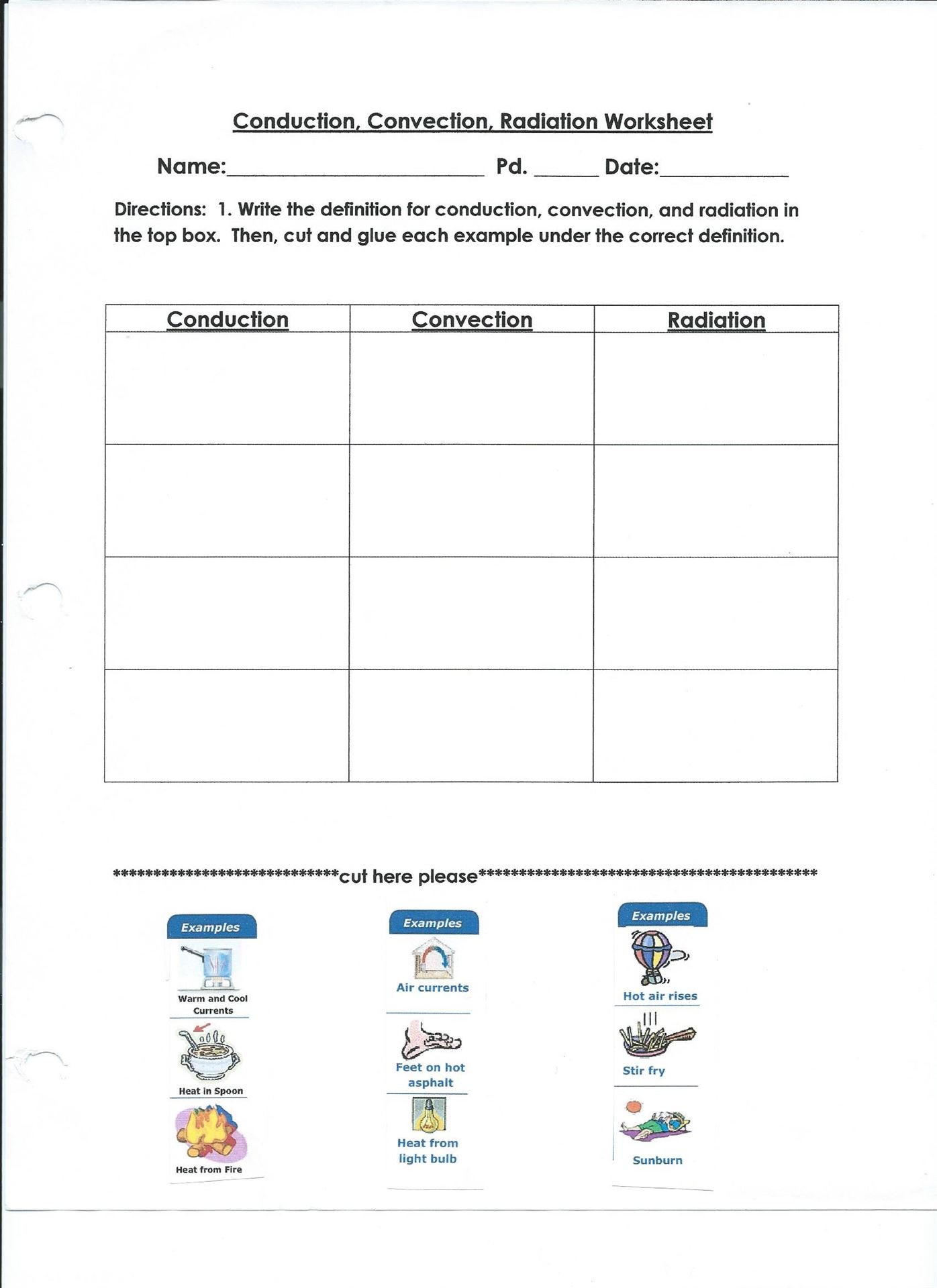 conduction convection radiation worksheet - Termolak